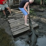 Child holding a gator tail