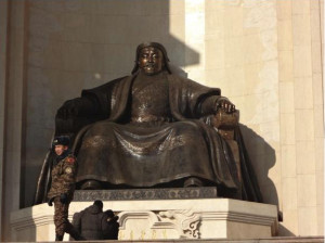 Above: Genghis Khan statue in front of Mongolia's Parliament building