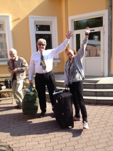 Happy people with luggage